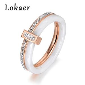 Lokaer 2 layers Black/White Ceramic Crystal Wedding Rings Jewelry Rose/White Gold Color Stainless Steel Rhinestone Engagement(China)