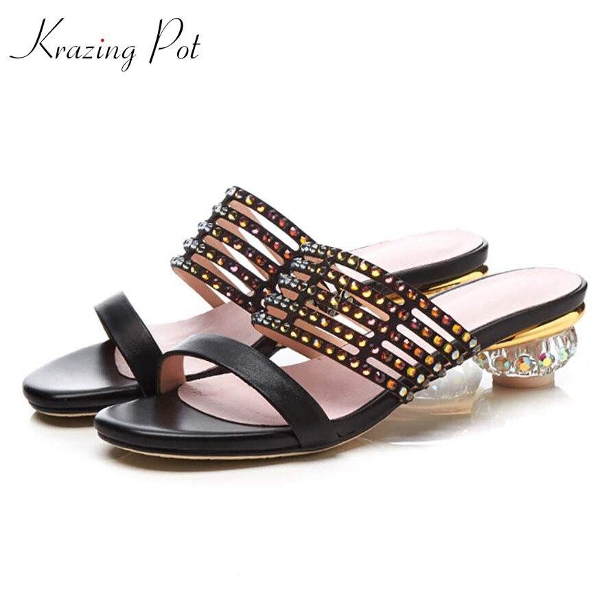 Krazing pot genuine leather crystal med heel summer women gladiator beauty lady diamond decoration sandals pointed