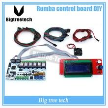 BIQU Румба совета управления DIY + кулер вентилятор + LCD 2004 контроллер дисплея + перемычка + DRV8825 драйвер Шагового для reprap 3d-принтер