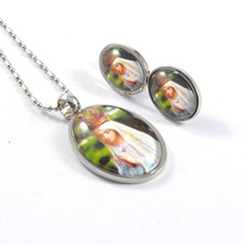 Fashion Women Necklace Earrings Sets Stainless Steel Charm Pendant Earrings Jewelry Sets