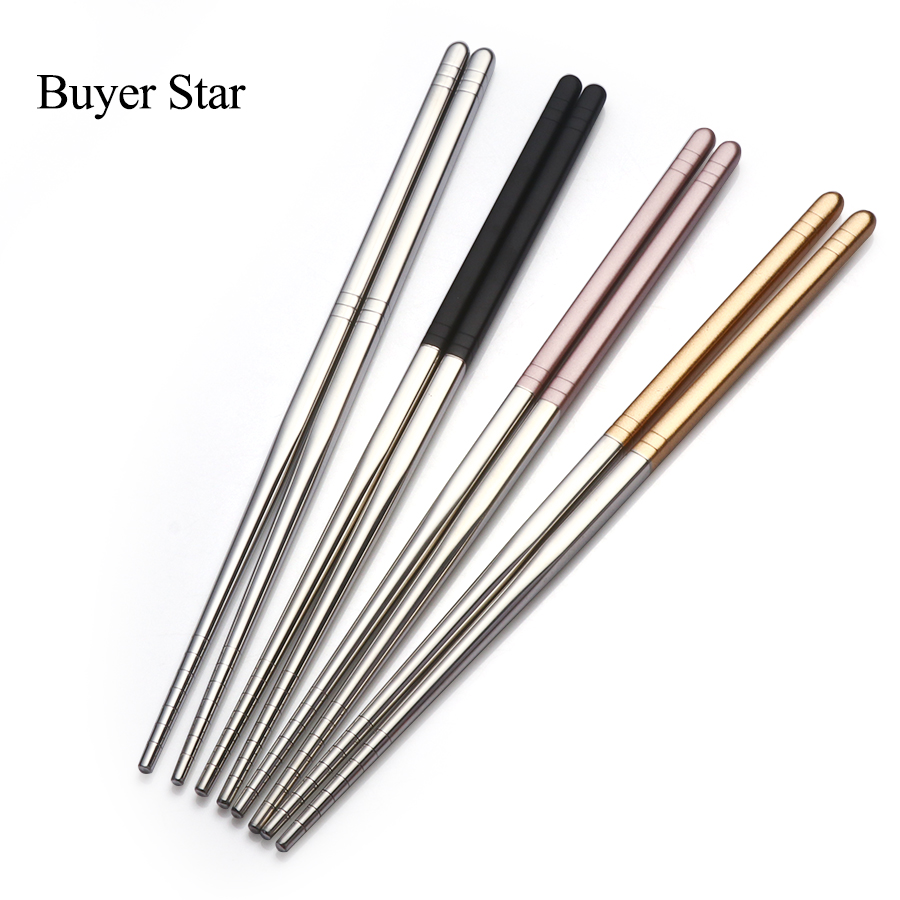 Buyer Star 5 Pairs Portable Creative Stainless Steel Korean Chopsticks Personalized Gold Pink Sushi Sticks Hashi