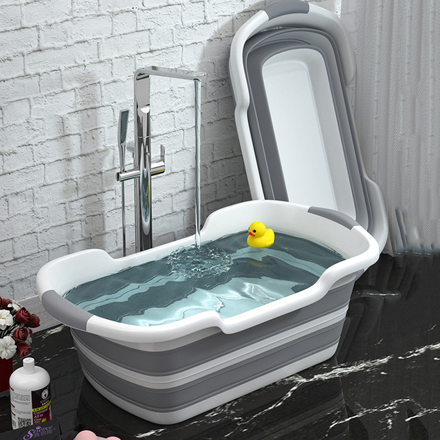 Portable Silicone Non-Slip Bath Tub for Pets and Babies (2 Colors)