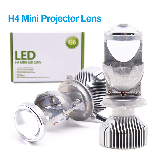 Cheap 2x H4 LHD LED Bulbs Lossless LED Conversion Kit Bulb Light Lamp Hi/Lo Beam Headlight with Mini Projector Lens 12V/24V