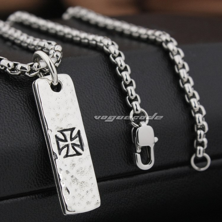 Cross Tarot Card Dog Tag 925 Sterling Silver Mens Biker Pendant 8Q019(Necklace 24inch) solid 925 sterling silver skull dog tag mens biker pendant 8c004a necklace 24inch
