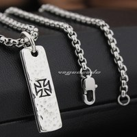 Cross Tarot Card Dog Tag 925 Sterling Silver Mens Biker Pendant 8Q019(Necklace 24inch)
