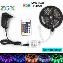 Zgx 3528 RGB Светодиодные ленты-Водонепроницаемый 5 м 10 м 15 м 60 светодиодов/м гибкий светодиод клейкие ленты DC 12 В