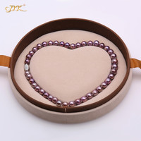JYX 2019 Rare Charming Purple Pearl Necklace Fine 9 11mm Round Purple Freshwater Cultured Pearls necklaces High end Jewelry