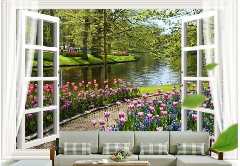 3d wallpaper custom photo non-woven mural wall sticker 3 d flowers river out of the window painting room wallpaper for walls 3d 3d room wallpaper custom mural non woven wall sticker 3 d fantasy green vine of roses painting photo wallpaper for walls 3d