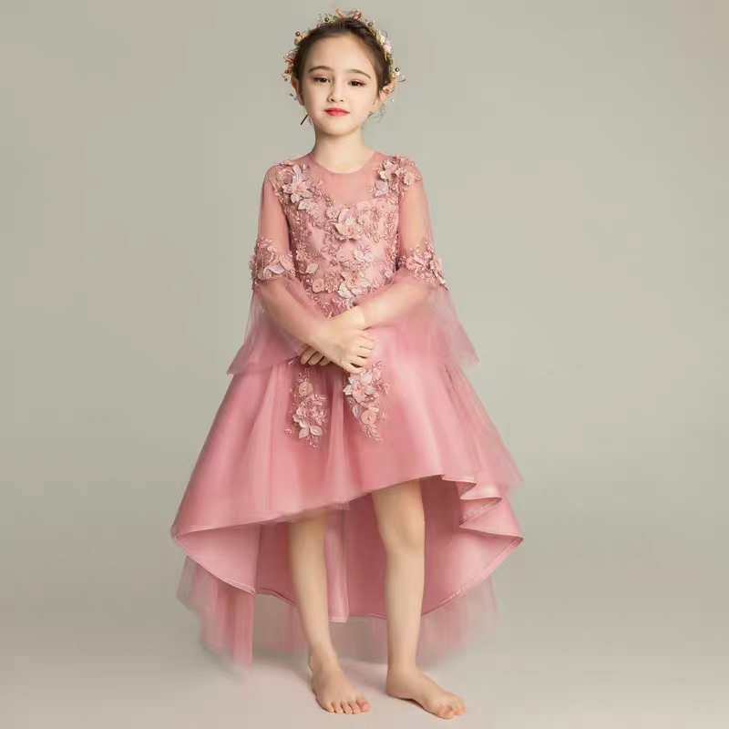 2018 Autumn New Noble Children Girls Wedding Birthday Puff Flowers Princess Tail Dress Model Catwalk piano performance clothing2018 Autumn New Noble Children Girls Wedding Birthday Puff Flowers Princess Tail Dress Model Catwalk piano performance clothing