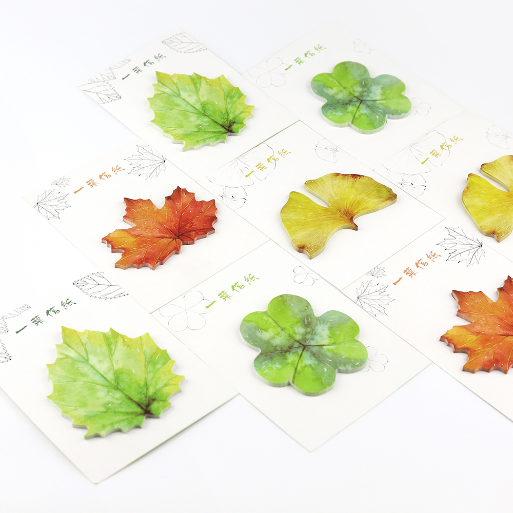30 Sheets/pad Cute Leaves Memo Pads Scrapbooking Sticky Notes Paper Sticker Stationery Supply