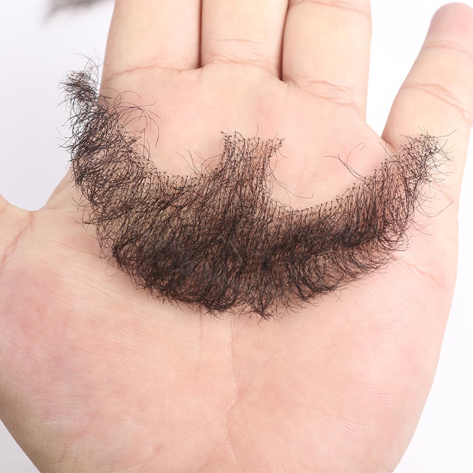 Pageup Lace Beard Mustache Hand-Made Real-Hair Synthetic by for Man Fancy Invisible Barba title=