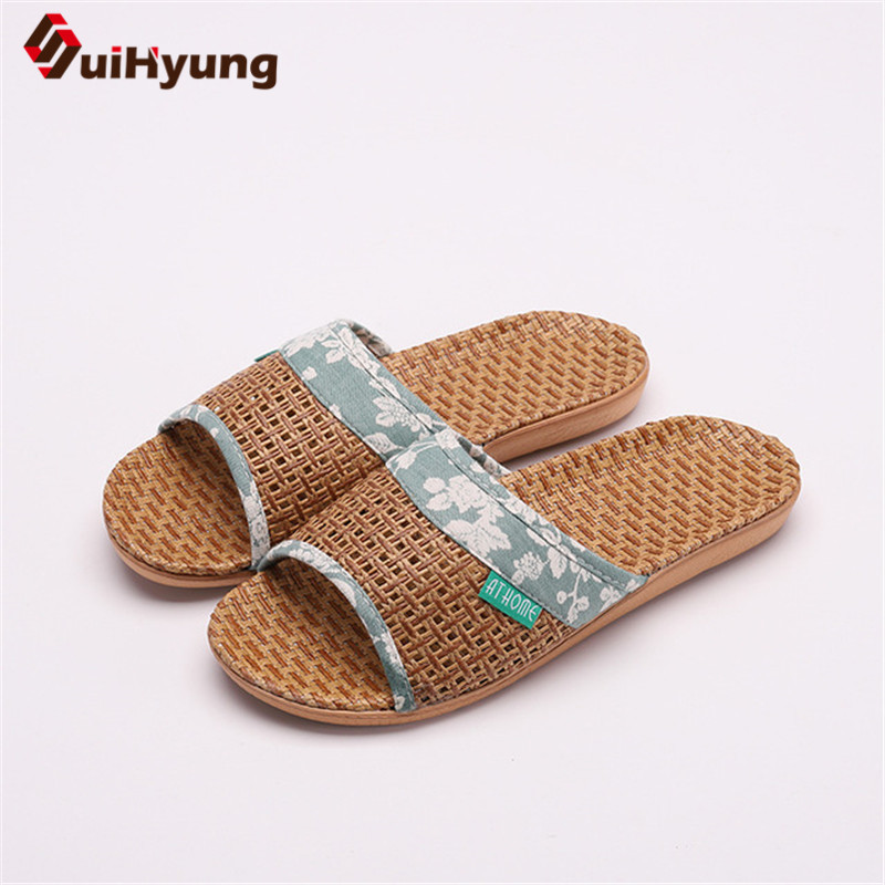 Suihyung Lovers Indoor Slippers 2019 New Summer Women Breathable Flax Slides Flip Flops Woman Man Casual Flat Sandals Plus Size 3