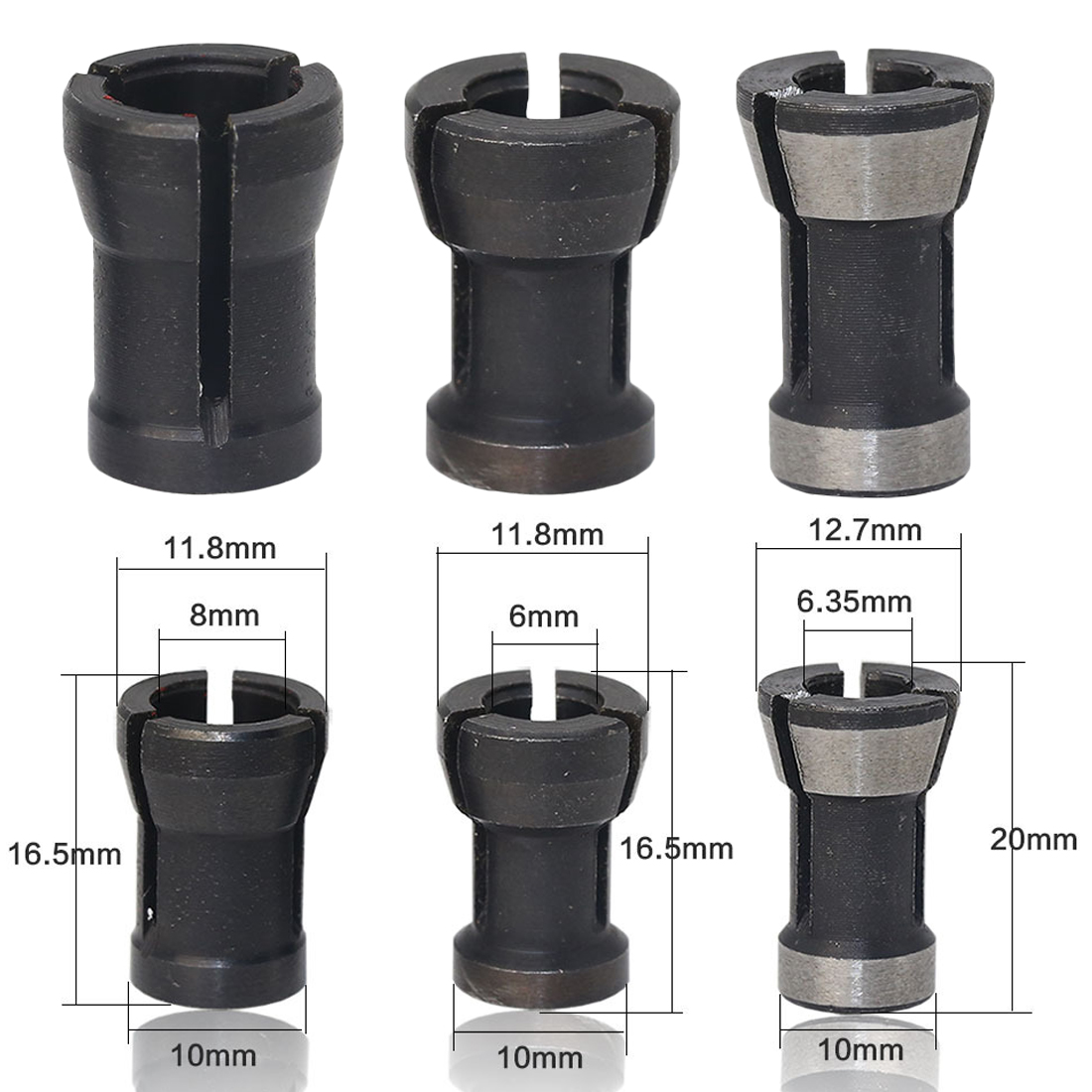 6mm/6.35mm/8mm Collet Chuck Engraving Trimming Machine Electric Router For Machinery Manufacturing Woodworking Cutter  1pcs/3pcs
