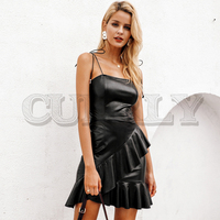 CUERLY Sexy autumn black dress women 2019 PU leather strap bodycon ruffles dress girl Christmas female dress festa vestidos