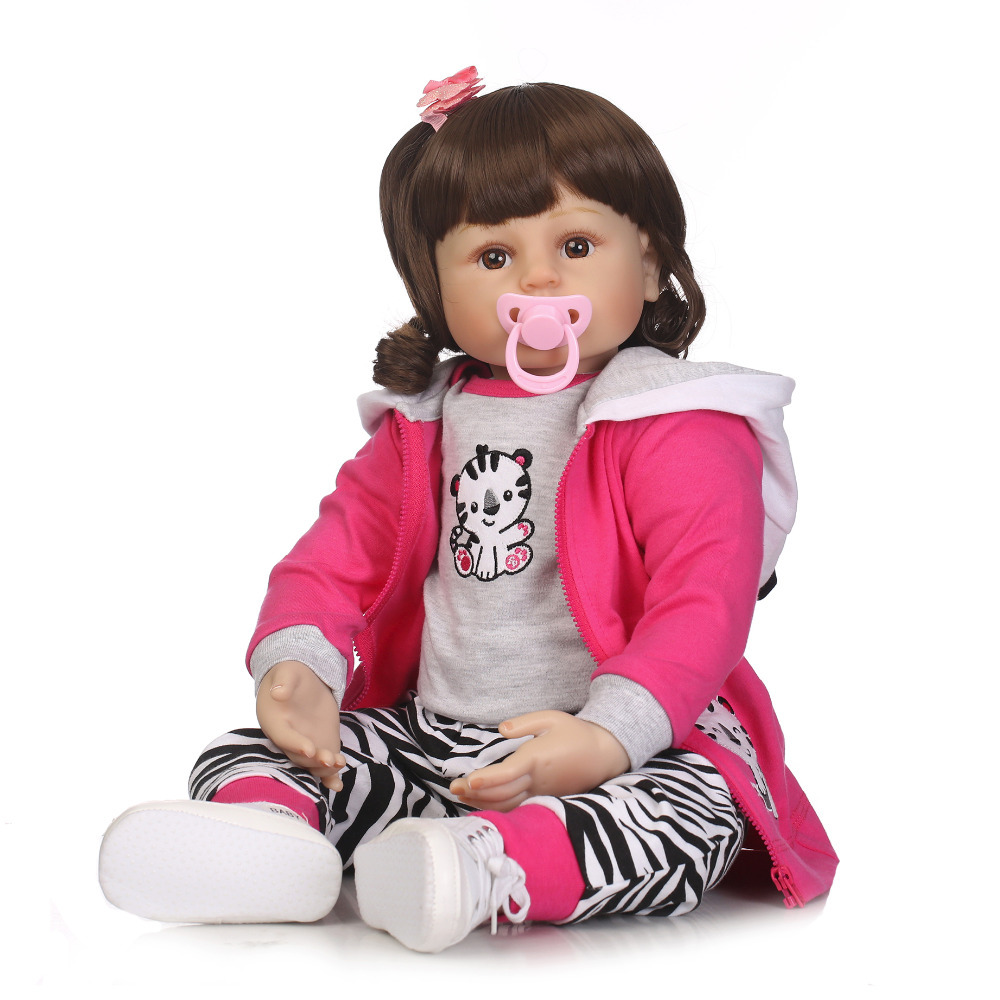 Nicery 20-22inch 50-55cm Bebe Reborn Doll Soft Silicone Boy Girl Toy Reborn Baby Doll Gift for Children Pink Coat Cat nicery 18inch 45cm reborn baby doll magnetic mouth soft silicone lifelike girl toy gift for children christmas pink hat close