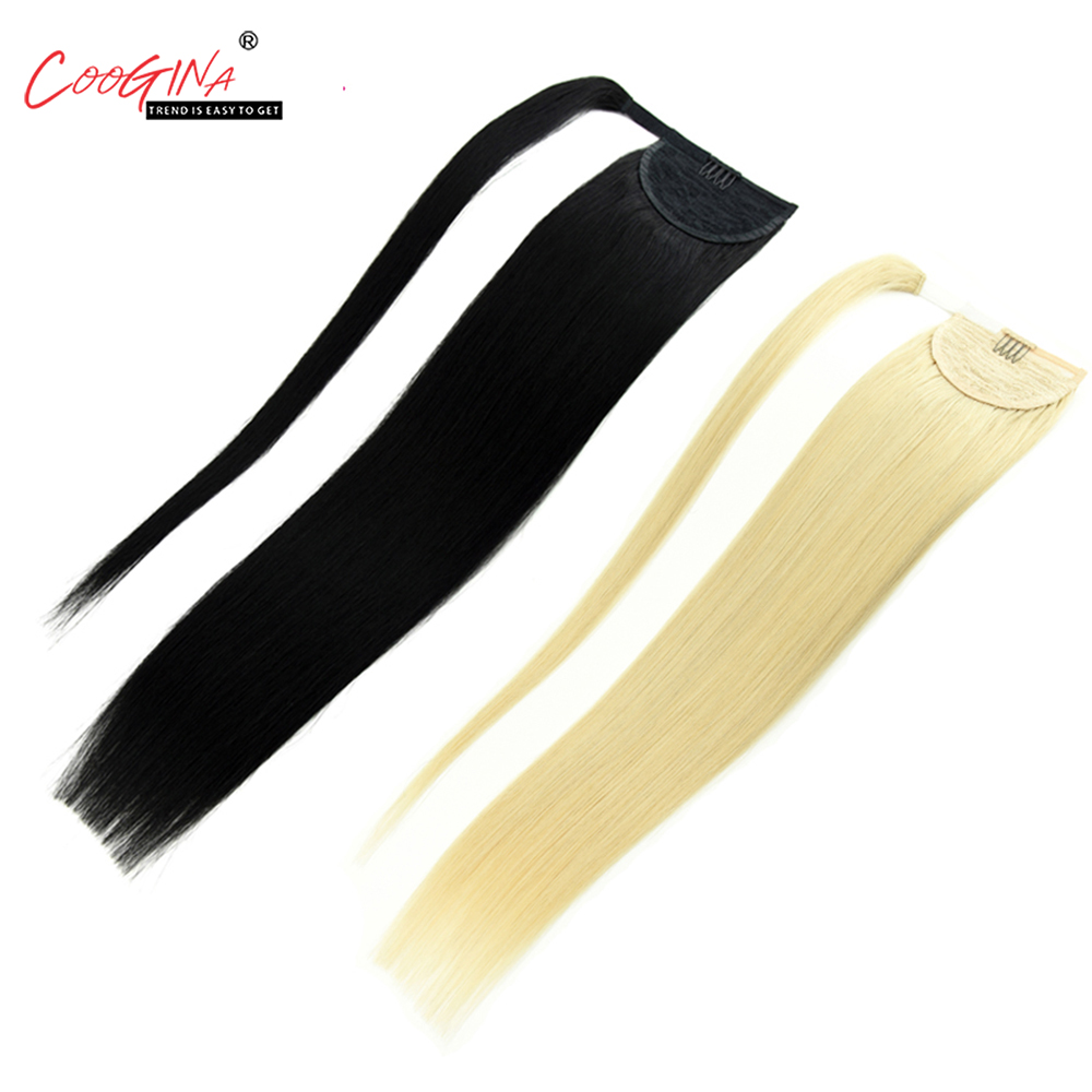 Coogina Women Remy Hair Extension Human Hair Ponytails 18 22 Wrap Around Ponytail Straight Hair Pony Tail Clip In Hairpins