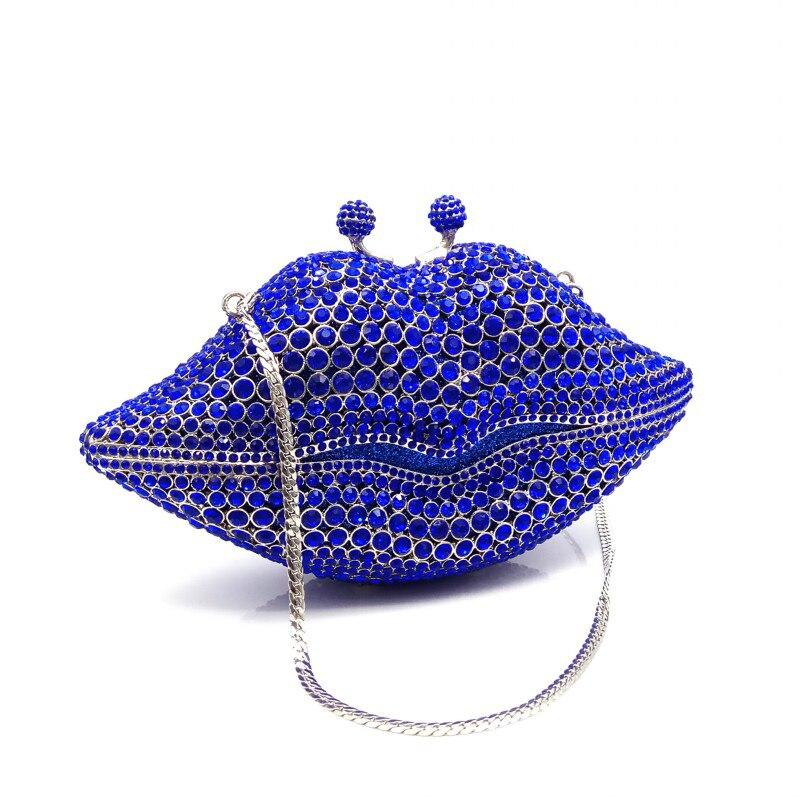 Embrayages De Soirée Noce Femmes Cristal Pictures Sacs 1 Lip Luxe Nuptiale Diamants Color Main Forme À Petit Mode send Blue Sac 5rtqx6tw