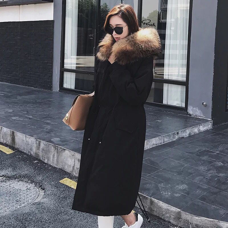Large Real Fur Thick Women Parkas 2018 Winter Jacket Women Raccoon Fur Duck   Down   Jacket For Women Winter   Coat   Female Long Parka