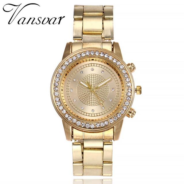 Simple Watches Rhinestones Dress Woman Watch Rose Gold Ladies Watches Clock Fema