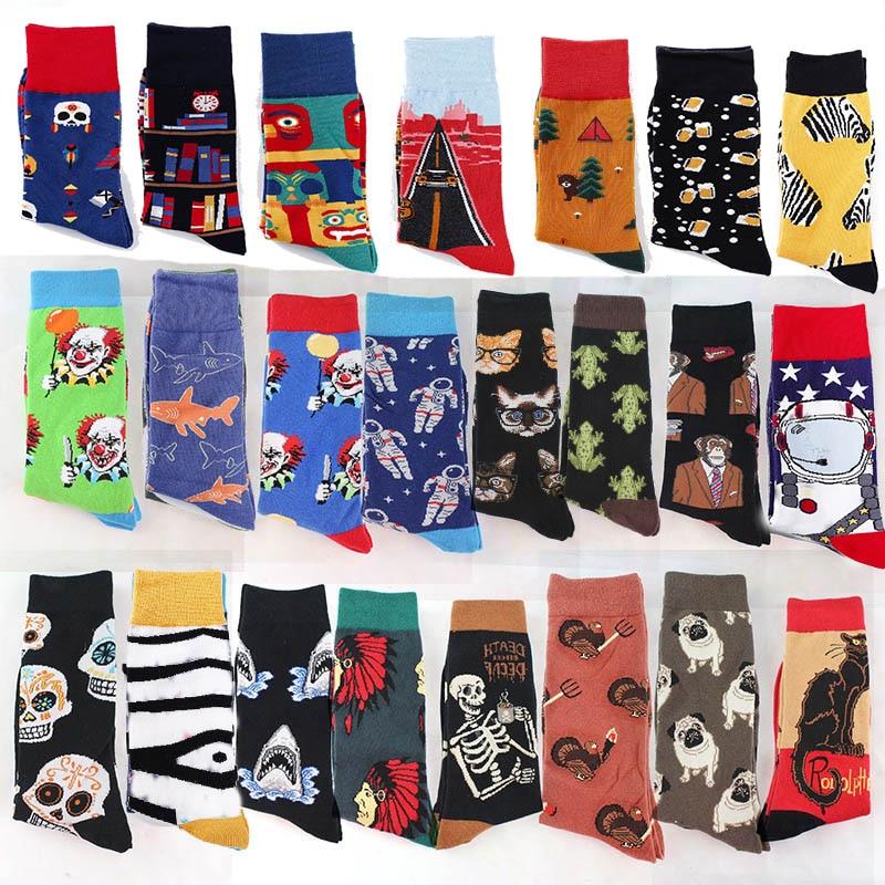 Gekämmte Baumwolle Mode Hip Hop Männer Socken Trend Harajuku Marvel Clown Huhn Skateboard Glücklich Socken Lustige Sokken Hohe Belastbarkeit