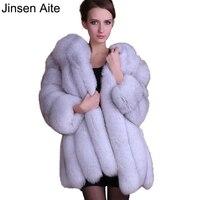 Цзиньсэнь Aite новый плюс Размеры S-XXXXL зима женская одежда Fox Мех животных Длина толще Искусственный мех пальто элегантные мягкие теплые женс...