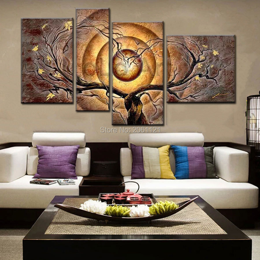 Hand Painted Abstract Oil Canvas Painting Set Modern 4 Piece Wall Art dark yellow brown tree Home Decorations gifts Hot Sale