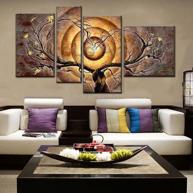 Hand Painted Abstract Oil Canvas Painting Set Modern 4 Piece Wall Art dark yellow taupe tree & Hand Painted Abstract Oil Canvas Painting Set Modern 4 Piece Wall ...