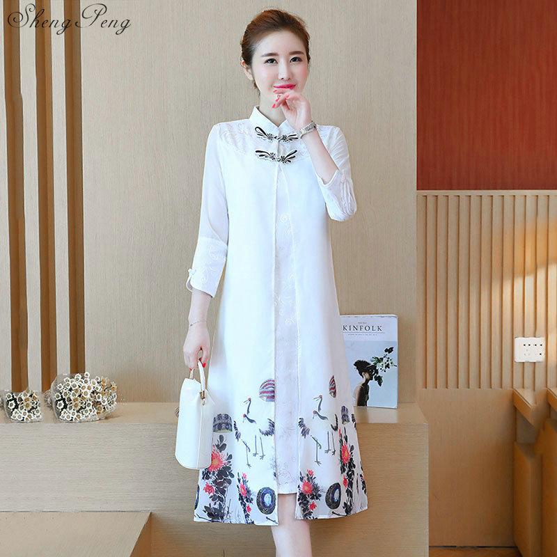 2018 summer chinese traditional dress women chinese dress qipao side slit cheongsam chinese style modern oriental dress Q175