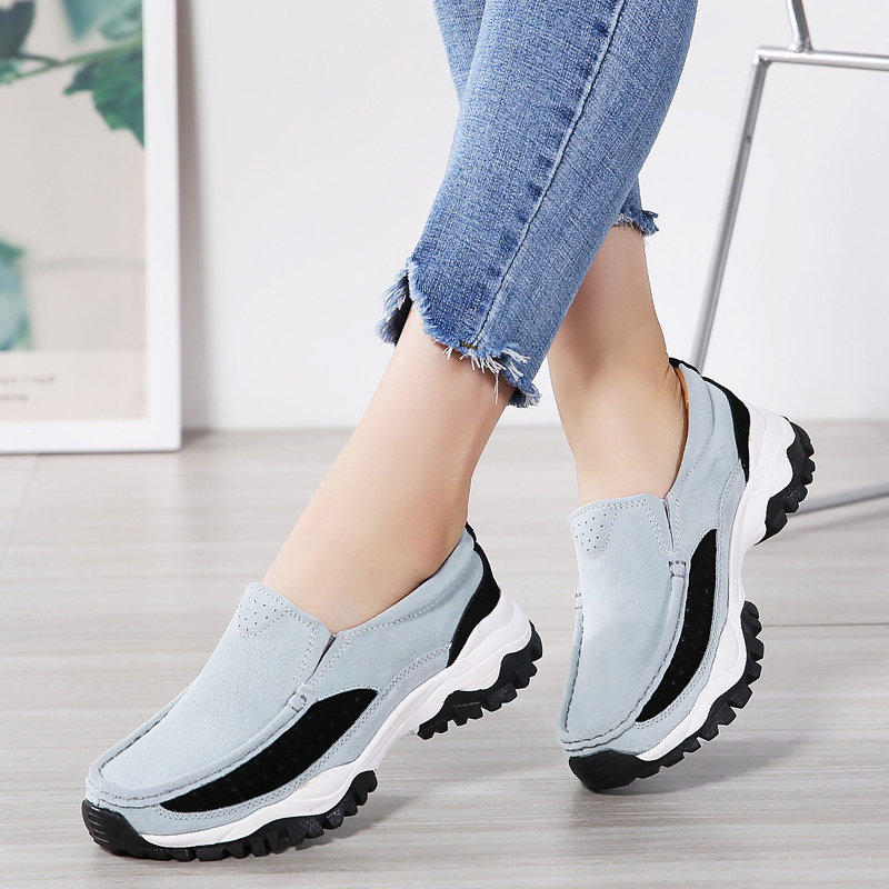 2019 Spring Women Flat Shoes Platform Sneakers   Leather     Suede   Casual Shoes Women Moccasins Slip On Flats Loafers Female Creepers