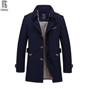 Image 3 - Manoswe 긴 트렌치 코트 남자 2019 새로운 남자 봄 캐주얼 재킷 윈드 브레이커 겉옷 고품질 패션 롱 코트