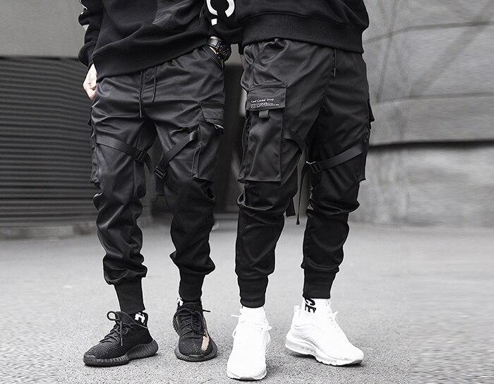 Aelfric Eden wstążki hip hopowe spodnie Cargo męskie z czarnymi kieszeniami Streetwear Harajuku Techwear spodnie spodnie Harem spodnie dresowe do
