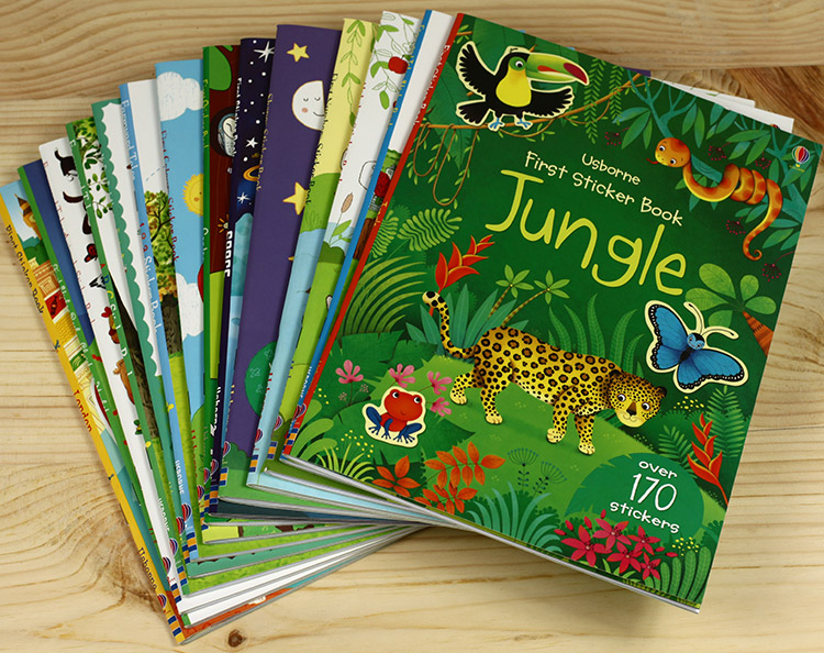 5 Sticker Books Of Children English Story /A4 Size Kids Baby Cartoon Reuseble Stickers For Child Birthday Gifts, Free Shipping