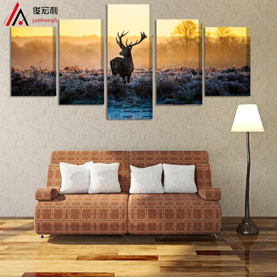 5 kusů plátna umění Zarámované olejomalba tištěné africké slunce jelen pokoj dekor plakát plátno tiskne modulární obrázky na zdi