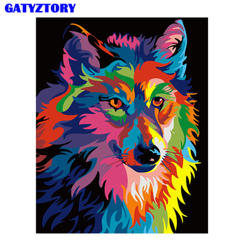 Frameless 다채로운 늑대 diy 그림 번호로 홈 장식 현대 벽 예술 그림 handpainted 거실 아트웍 40*50 cm
