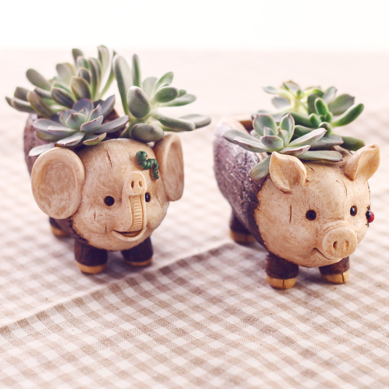 Image 4 - Roogo Creative Pig Design Flowerpot Resin Wood Flower Pots Micro Landscape Ornaments Planter for Home Indoor-in Flower Pots & Planters from Home & Garden