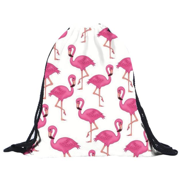 Backpack Drawstring-Bags Travel-Package 3d-Printing Flamingos-Pattern Unisex Polyester