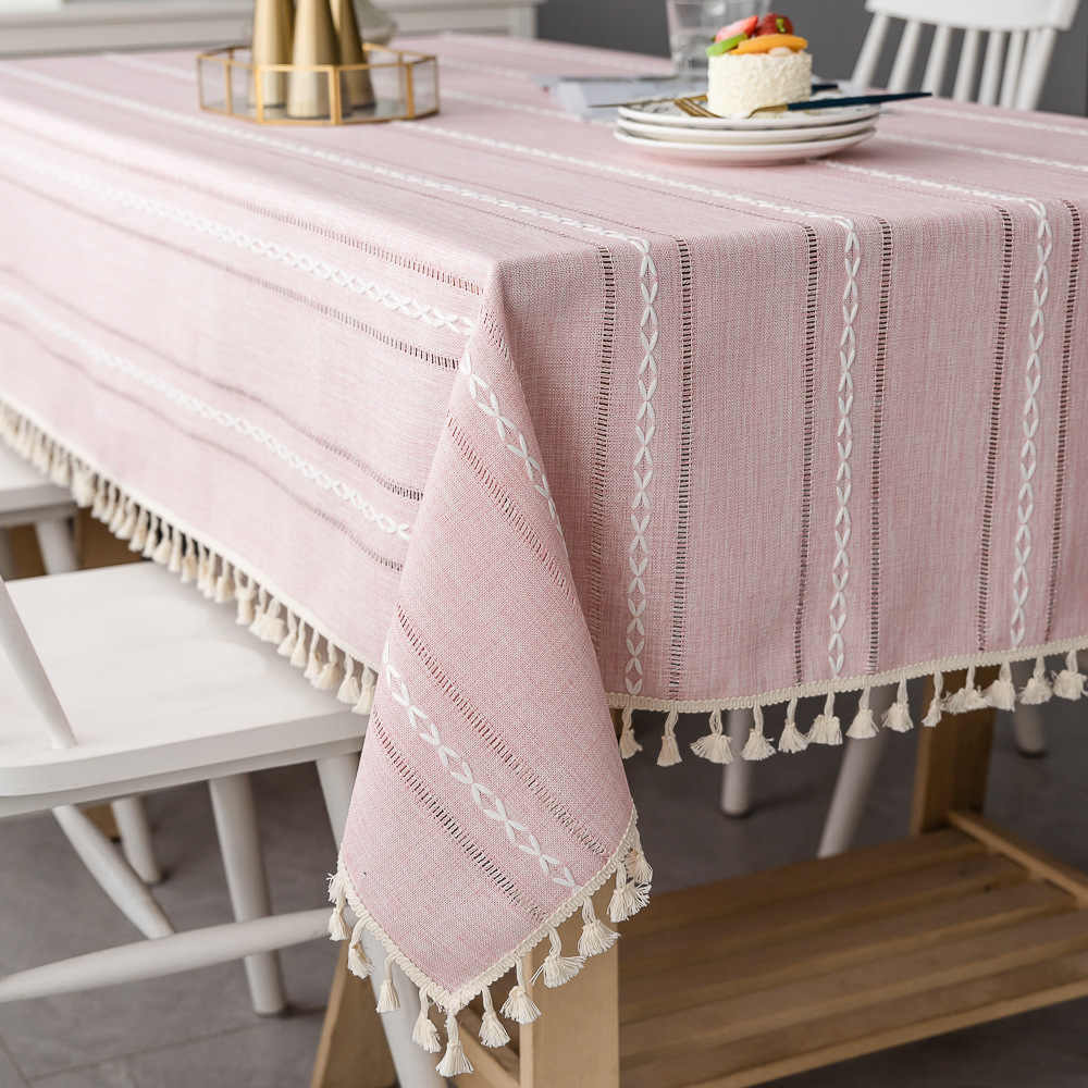 Nordic Christmas Tablecloth Pink Hollow Embroidered Jacquard Striped Rectangle Table cloth Cotton Linen Dining Table Cover Decor