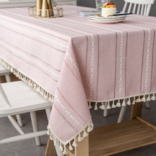 Nordic Christmas Tablecloth Pink Hollow Embroidered Jacquard Striped Rectangle Table cloth Cotton Linen Dining Cover Decor