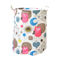 Creative Owl Cotton Linen Laundry Folding Bucket Dustproof Cover Kids Toy Storage Basket Debris Storage Bucket Home Decor Gifts