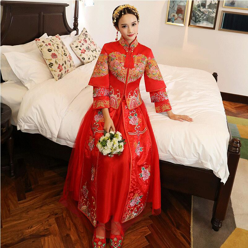 Shanghai Story Chinese Traditional Clothing Top Skirt Cheongsam Wedding Women Flowers Ladies Retro China Wedding Dress