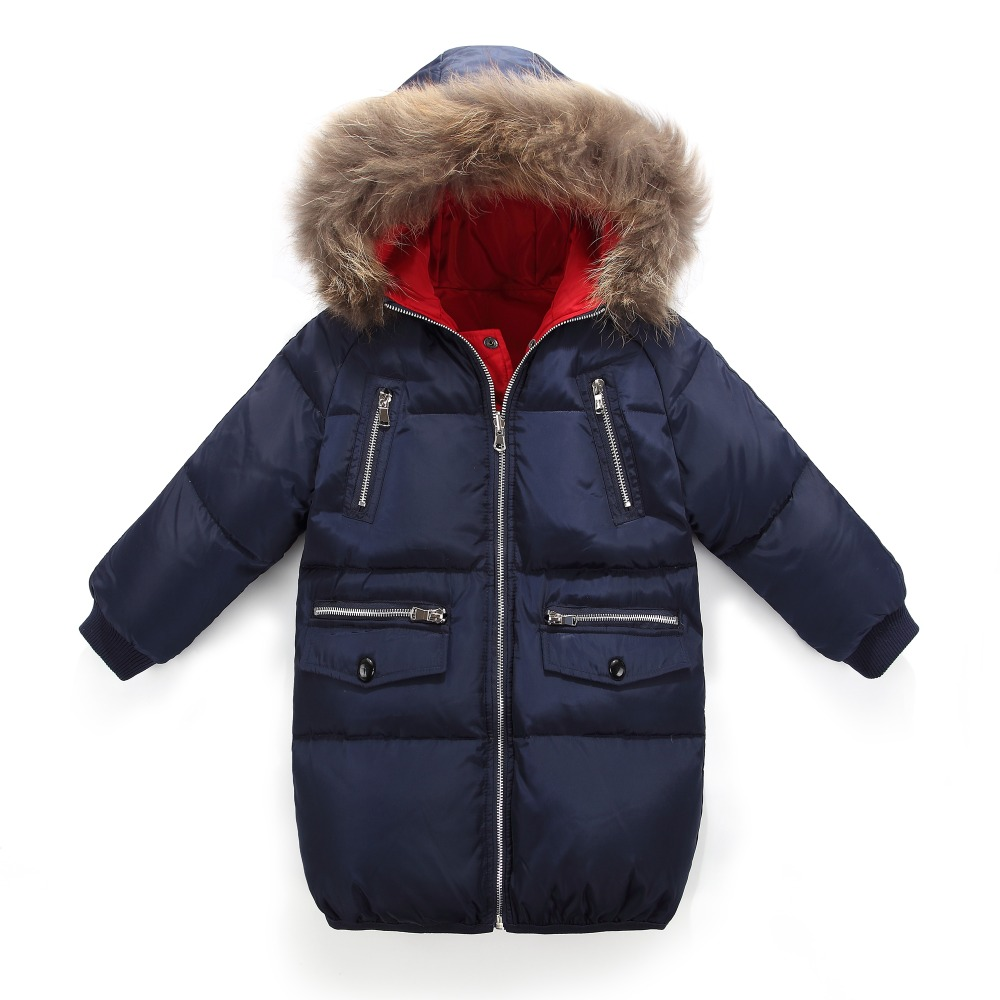 2017 Winter Coat Boys Girls Down Jacket Fashion Real Big Fur Collar Solid Outerwear Winter Jacket For Boy 120-160 russia winter boys girls down jacket boy girl warm thick duck down