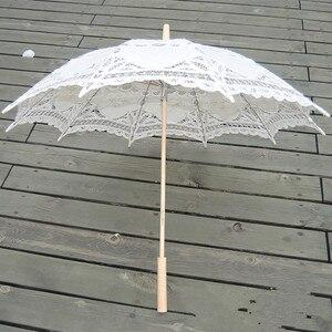Image 3 - Sombrilla bordada de algodón para novia, sombrilla de encaje blanco marfil, sombrilla decorativa para boda