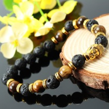 Black Men Women 8mm Round Beads Gold Tone Color Buddha Head Beaded Bracelet Elastic Made Of Alloy Synthetic Material