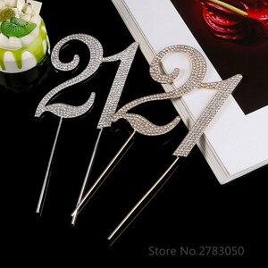 Image 5 - Diamante Strass No. 15/16/18/21 Cake Topper per La 15th 16th 18th 21th Compleanno Anniversario di Matrimonio decorazione Della Torta Del Partito