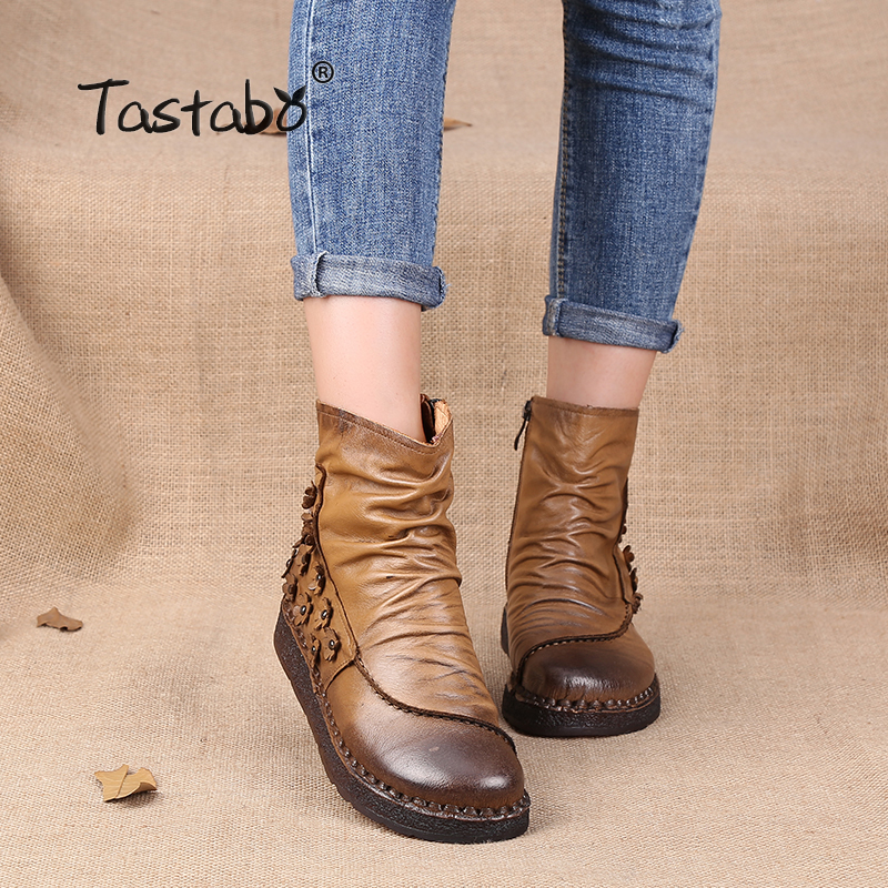 Tastabo Shoes Women Retro Boots Handmade Ankle Boots Flat Boots Genuine Women Shoes Alta Calidad Toallita de Moda Botas 2017