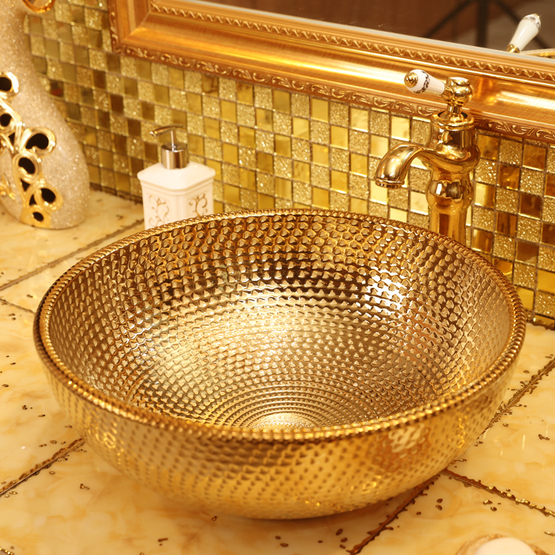 Golden and sliver bowl shape porcelain ceramic bathroom sink for hotel and home minglilai blakc sliver 37