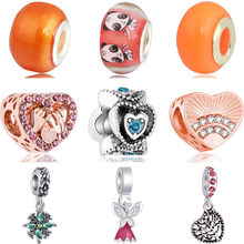 Gorgeous Crystal Cake Gifts Hearts Owl Bee Hamsa Hand Beads Charms Fit Pandora Bracelets & Bangles for Women Party DIY Trinket(China)