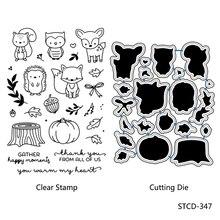 AZSG C Cartoon Animals Hedgehog/Fox/Owl Cutting Dies Clear Stamps For DIY Scrapbooking/Album Decorative Silicone Stamp Crafts