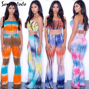 Solid/Tie-dyed Flares Pant Print Strapless Bodysuits 2 Pieces Jumpsuits Sexy Women Rompers Jumpsuit Summer Outfits Beach Suit