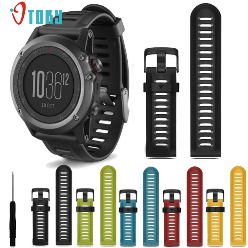 все цены на Excellent Quality For Garmin Fenix 3 Watch Bands Silicone Strap Replacement Watch Band Tools New Fashion Watch Straps For Gift онлайн